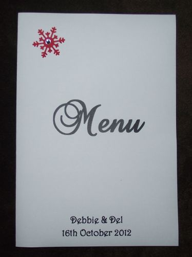 Menu with insert  Personalised Winter Snowflake design for weddings or any occasion various colours
